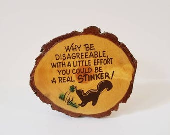 Vintage Tree Bark Skunk Funny Wall Hanging