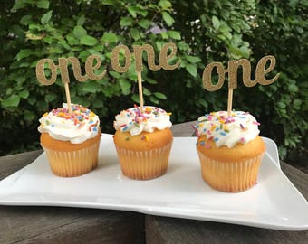 First Birthday Cupcake Toppers 12 Ct, Glitter First Birthday Decoration, First Birthday Decorations, One Word Cutouts