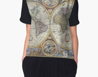 Map Clothing, Map Shirt, Old World Map, Unique Womens Top, Old Maps, Unique Woman Gift, Chiffon Tops