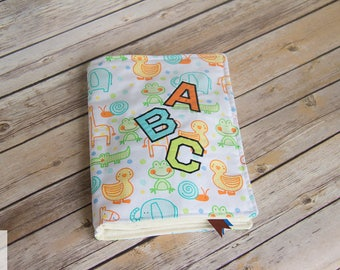 Baby Shower Gift Childrens Fabric Book Alphabet Applique Book Personalize Cover Baby Shower Gift