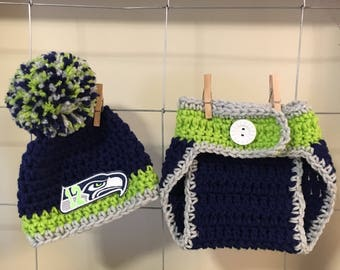 Newborn Seattle Seahawks baby hat or diaper cover, boys Seattle Seahawks hat, baby Seattle Seahawks outfit, Seahawks photo prop