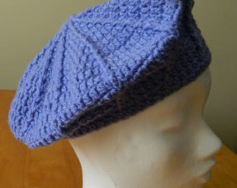 Crocheted Blue Beret Style Hat