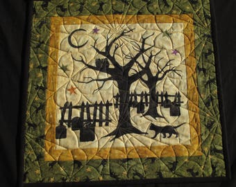 Black Cat Crossing, Halloween wall hanging or table topper