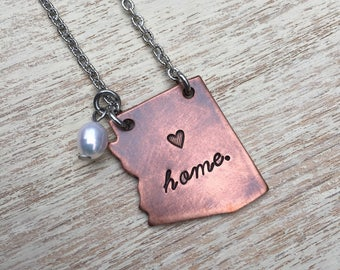 "Arizona State Necklace Hand-stamped ""home."" with 20"" stainless steel chain and freshwater pearl"