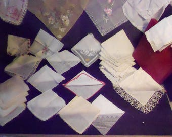 29 Vintage Hankies Some w Original Tags/Box Embroidery Lacy Xmas Fancy