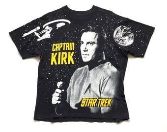 1994 Star Trek Captain Kirk All Over Print cotton t shirt, double side graphic nos