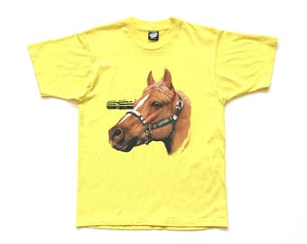 SCREEN STARS 80s 90s huge horse head silhouette bust single stitch t shirt size large 50 50 cotton polyester bright yellow banana tee