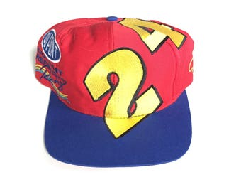 vintage #24 Jeff gordon dupont nascar racing snapback hat adjustable one size fits all 90s colour block big logo dupont chase race gear