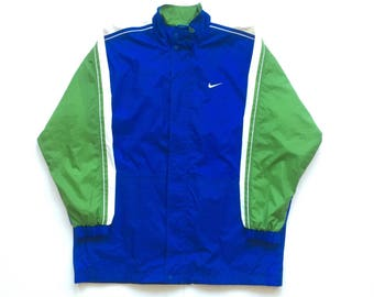 90s Nike Air big swoosh vintage full zip button up windbreaker jacket big check size large nike check vibrant blue neon green