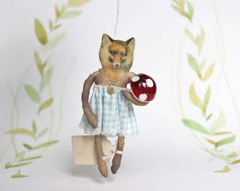 Nostalgic Spun Cotton Christmas Ornament Fox with toadstool Vintage Circus Filasophie
