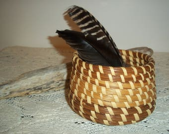 Vintage Sweetgrass Handmade Coiled Basket Vintage 1970's Catch~All Basket Collectible Sweetgrass Small Basket