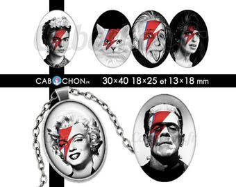 Stardust • 45 Images Digitales OVALES 30x40 18x25 13x18 mm ziggy bowie marilyn monroe chat joconde cabochon bijoux frida kahlo