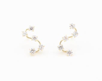 14k Yellow/White Gold and CZ Crawler Star Earrings