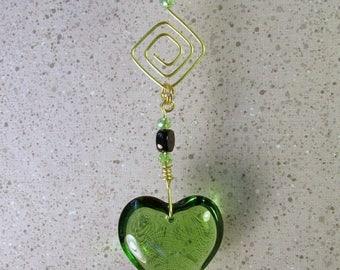 ON SALE Suncatcher Garden Art with Solid Glass Green Heart