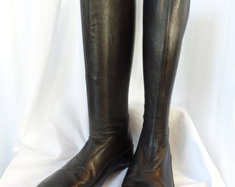 vintage ROBERT CLERGERIE stretch leather boot/ futuristic style/mid calf height/made in France: UK size 5- fits us 6.5-7 woman
