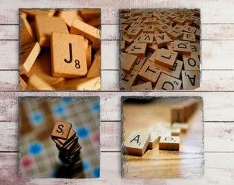 Scrabble Tile Drink Coaster Set, Game Party Favor, Game Room Decor, Man Cave Gift Idea, Retro Barware, Vintage Scrabble Game Gift Idea
