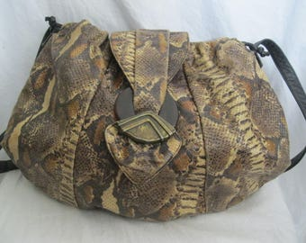 Sharif Brown Snakeskin Shoulder Bag