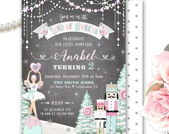Land of Sweets Invitation, Sugar Plum Fairy Birthday Party Invite, Nutcracker Invitation Girl, Little Snowflake, Winter Candyland Birthday