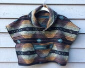 Childrens Cape - Unisex Poncho - Brown, Teal & Black