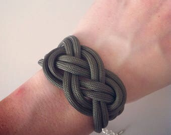 Silver anchor and khaki sailor knot bracelet
