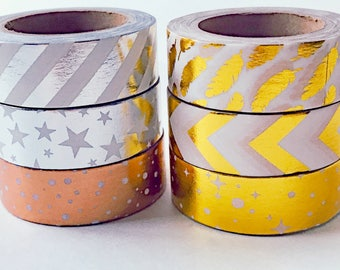 Variety 6 ct. Gold Silver Washi Foil Tapes Each 32.8 ft. Long  Variety Masking Tape Assortment