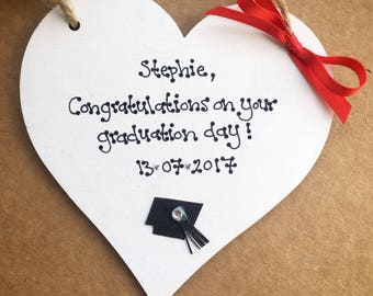 Congratulations on your graduation gift personalised heart