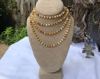 Yellow jade triple wrap necklace