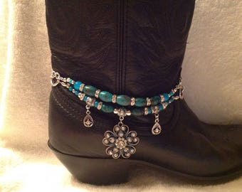 Stacked Boot Bling with turquoise beads 4005