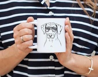 Ronan the Rhodesian Ridgeback - Gifts For Dog Owner, Dog Lover, Dog Mug, Dog Mug, Dog Wearing Glasses, Cool Dog Mug