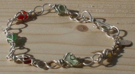 GREEN & RED S/G Bracelet - set in Sterling