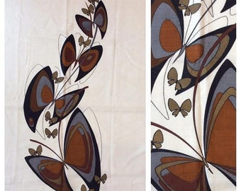 """SPRING SALE Vintage 1960s ALFRED Shaheen Hawaii Fabric Panel Lovely Butterfly Design 44"""" x 55"""""""