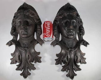 Large pair of Victorian cast iron Neoclassical Woman faces plaques applique – circa 1880