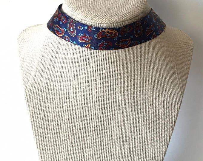 Hippie Choker, Boho Choker Necklace, Blue Bohemian Choker, Blue Ribbon Necklace, Trendy Necklace