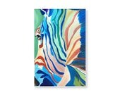 Colorful Zebra Art Postcard