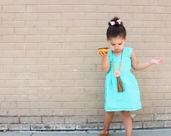 Teal Dress - vibrant - teal - toddler dress