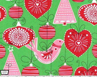 Christmas Fabric Ornaments for All by Michael Miller Holiday Fabric by the Yard or Half Yard Christmas Material Green Red Pink