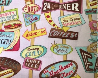 Restaurant signs. Diner signs.  Hamburger. Hot dogs.  Ice cream sundaes