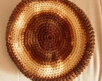 Gradient Brown and beige beret crochet
