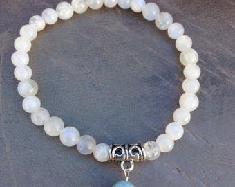 Moonstone bracelet with larimar