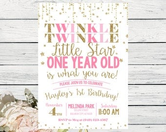 Twinkle Twinkle Little Star First Birthday Invite Pink and Gold Glitter ***Digital File*** (Twnkle-OneStar)