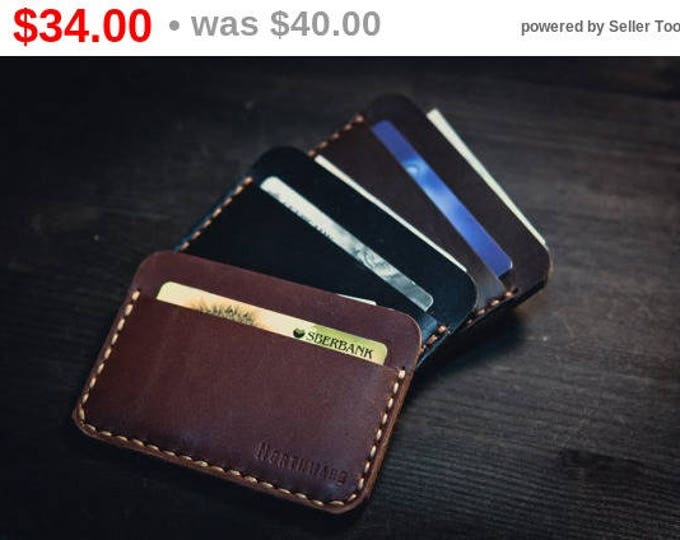 Horween Leather Card holder/ Chromexcel Card Case/Leather Cardholder Wallet/Minimal Leather Wallet/