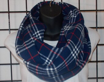 Blue Red and White Plaid Infinity Scarf/ Plaid Infinity Scarf/ Flannel Scarf/ Adult Infinity scarf/