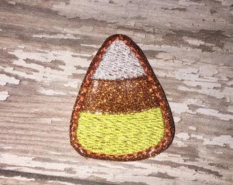 Set of 4 Halloween Candy Corn Trick or Treat Treats Feltie Felt Embellishment Bow! Felties Applique Party