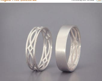 SALE in July! 14K White Gold Eternity Wedding Rings Set   Handmade 14k white gold eternity wedding Rings   His and Hers Wedding Bands Set
