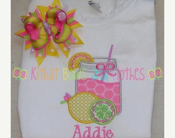 ON SALE Lemonade Jar Applique Shirt and Matching Hairbow - Spring - Lemon - Lime