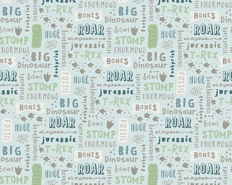 Fossil Words Blue in KNIT, Fossil Rim Collection By Deena Rutter for Riley Blake Designs