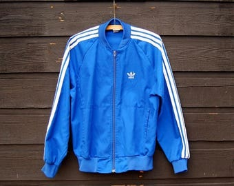 Summer SALE 80's Adidas Jacket, MED Blue White Track Jacket , Three Stripes Adidas Trefoil Zip Up Cotton Jacket, 80s Color Block Adidas Deni