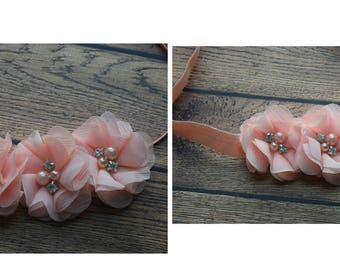 Blush peach Chiffon flower Baby Headband, Newborn Headband, Infant Headband,Baby Headband, Headband Baby, Baby Headband