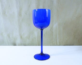 Tall Cased Glass Goblet / Wine Glass in Bright Cobalt Blue by Carlo Moretti - Murano Glass from Italy