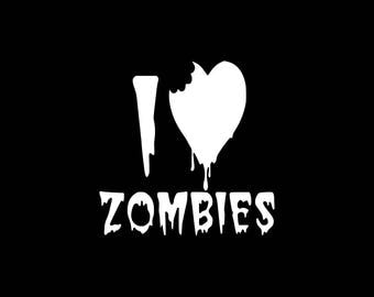 I Love Zombies Decal,Zombie Decal,Zombie Car Decal Stickers Truck Window Wall Bumper Sticker Zombies,Funny Zombie Decal Funny Zombie Sticker